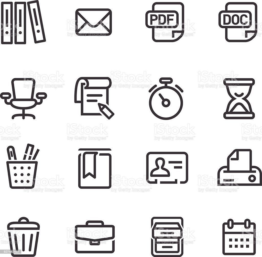 Office Work Icons Set - Line Series