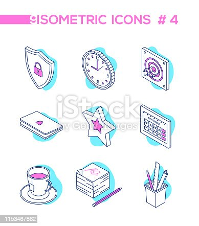 Office work - line design style isometric icons on white background. Blue and pink images of a shield, clock, target with arrows, laptop, star, calendar, a cup of tea, notes and a pencil, supplies