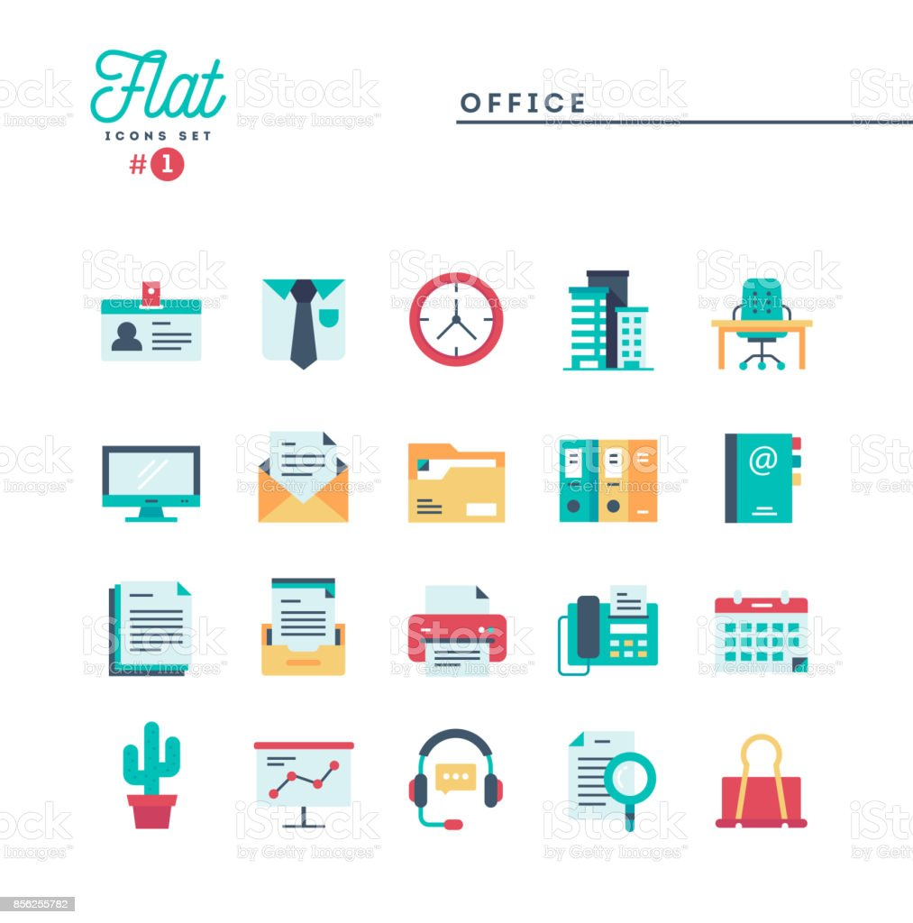 Office, work space and items, flat icons set vector art illustration
