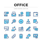 Office work vector line icons set. Thin line design. Outline graphic elements, simple stroke symbols. Office work icons