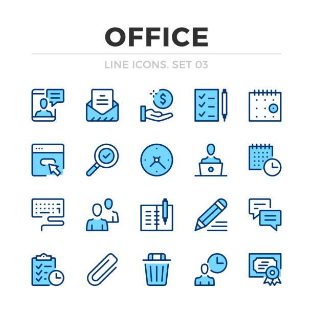 Office work vector line icons set. Thin line design. Outline graphic elements, simple stroke symbols. Office work icons Office work vector line icons set. Thin line design. Outline graphic elements, simple stroke symbols. Office work icons agenda stock illustrations