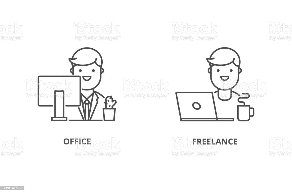 Office worker and freelancer vector icons vector art illustration