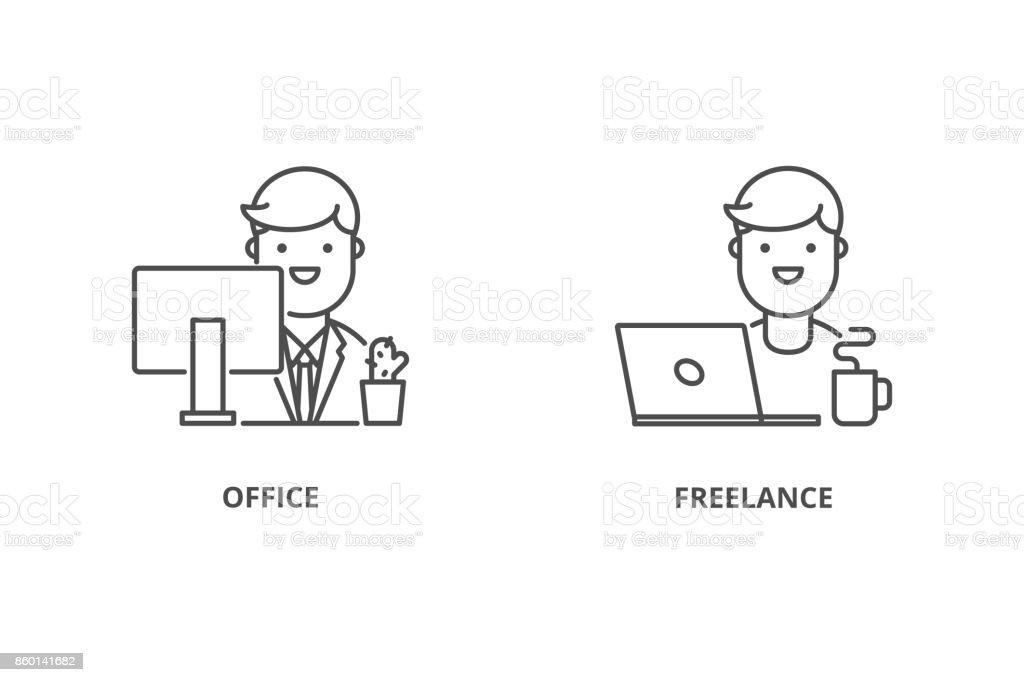 Oficinista y freelancer vector iconos - ilustración de arte vectorial