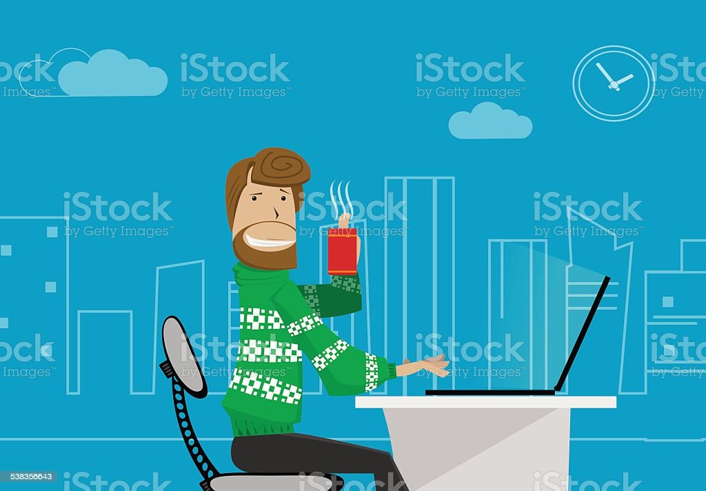 office worker at home. office worker at home. Vector eps 10 Small Business stock vector