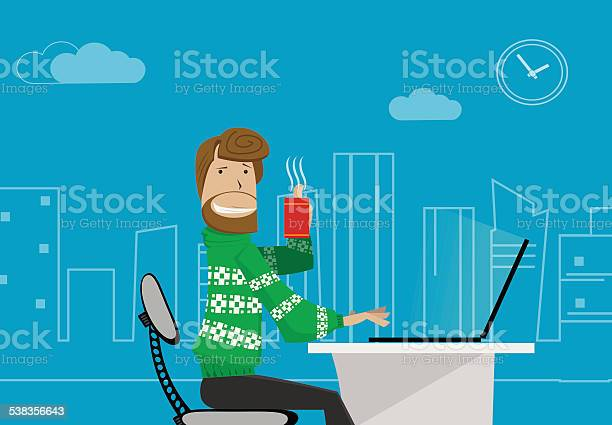 Office Worker At Home Stock Illustration - Download Image Now