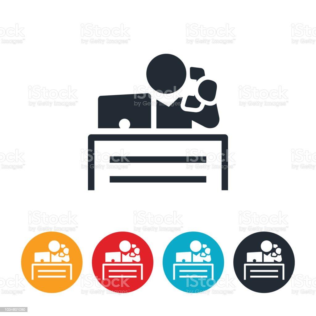Office Worker Behind Desk Icon vector art illustration