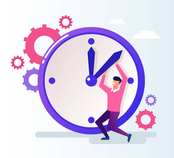 ilustrações de stock, clip art, desenhos animados e ícones de office worker businessman man character push time back. time organization concept. vector flat cartoon graphic design illustration - data