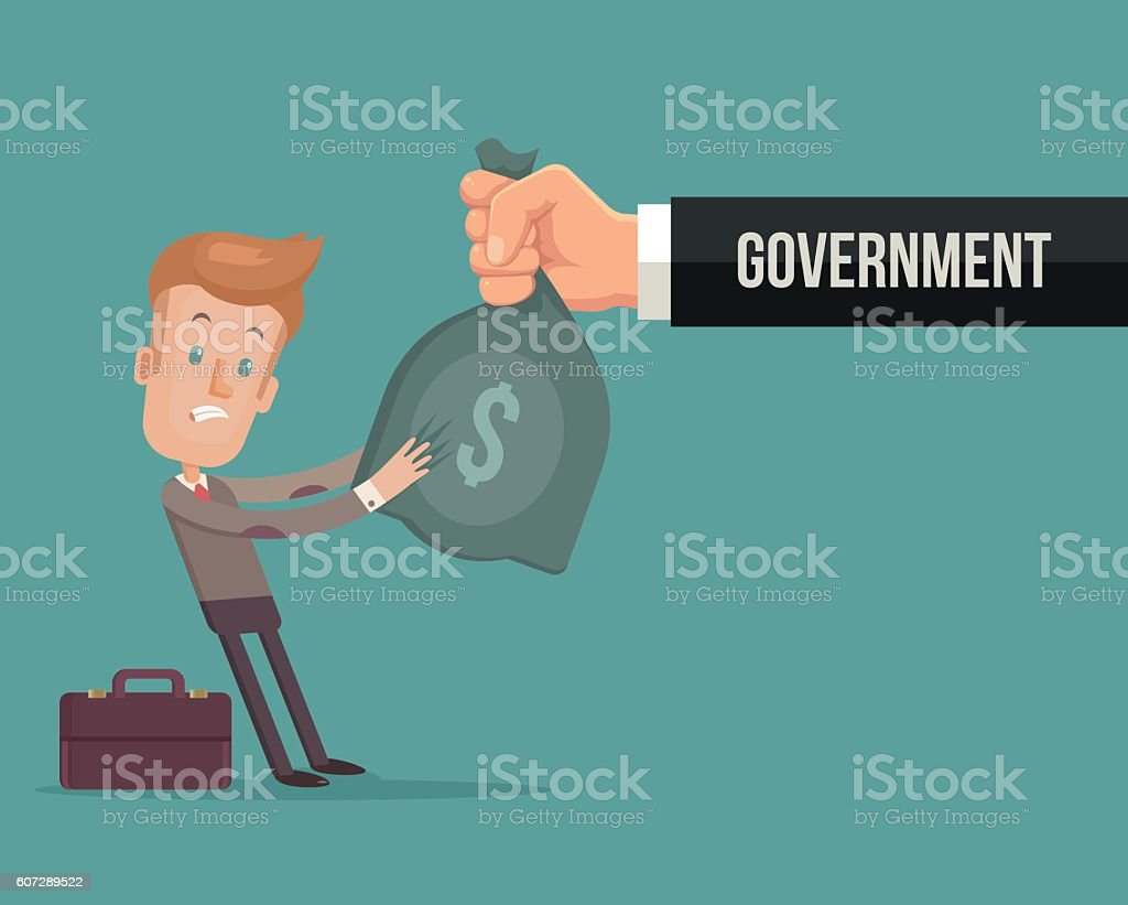 Office worker character give money government vector art illustration