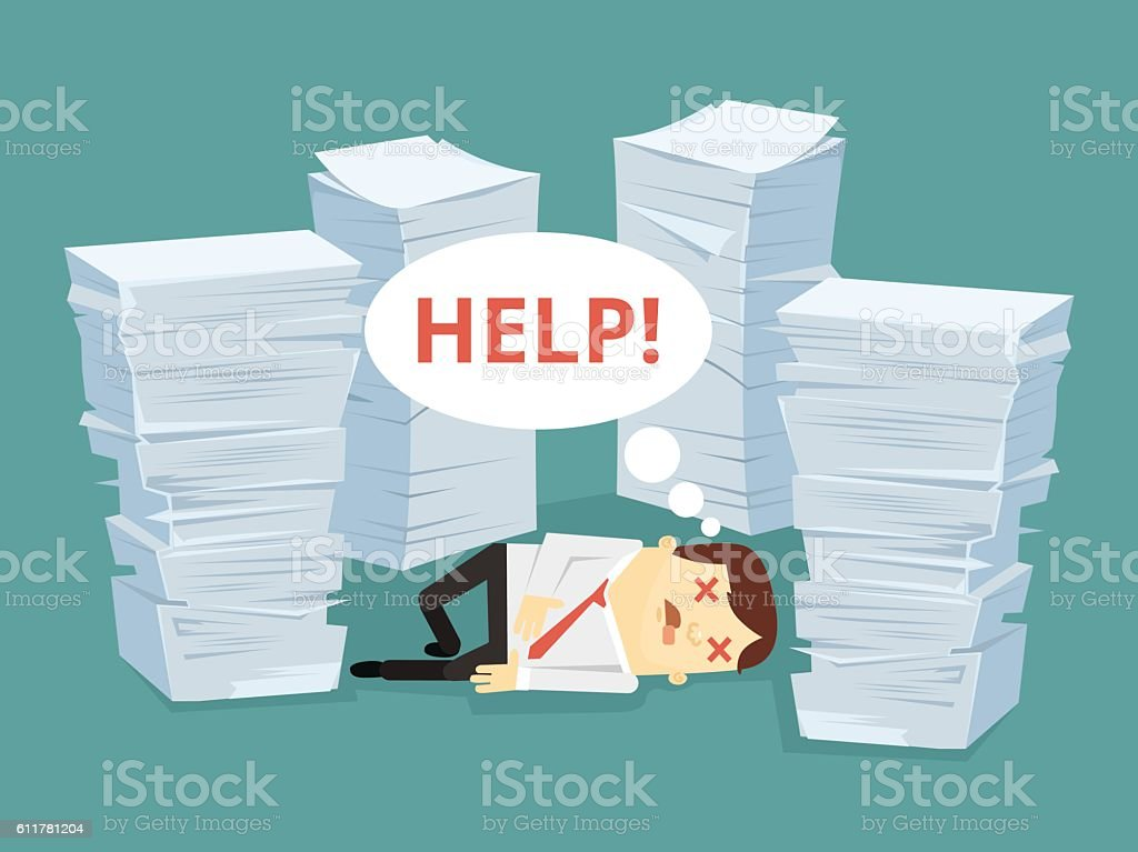 Office worker character has lot of works vector art illustration