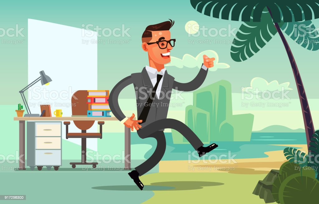 Office worker character run to vacation vector art illustration