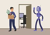 Office worker fired from his job. Replacement of jobs by robots with artificial intelligence. Man with a cardboard box leaves workplace. Unemployment. Concept vector illustration.