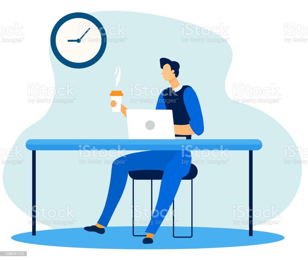 Pracownik biurowy mający przerwę kawową w miejscu pracy - Grafika wektorowa royalty-free (Biurko)