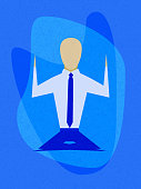 Minimalistic texture illustration - Office worker in lotus position. Meditation.