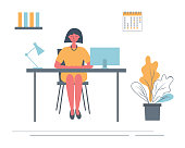 Office worker in the workplace. Young woman is sitting at the desk in the office room. There is a computer, folders, a lamp, a calendar and a flower in the picture. Funky flat style. Vector