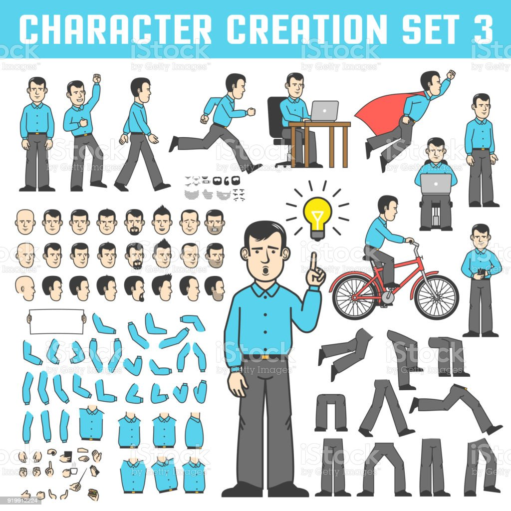 office worker  in various poses vector art illustration