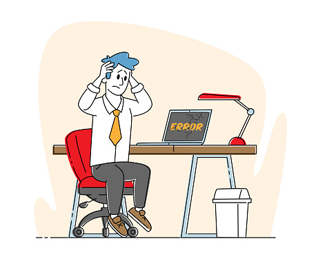 Office Worker Male Character Sit at Working Desk with Broken Computer Holding Head. Desperate Businessman and Gadget