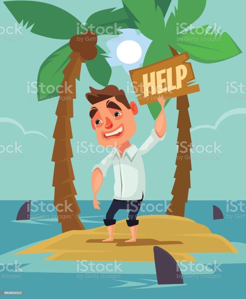 Office worker man character lost on desert island between shark vector art illustration