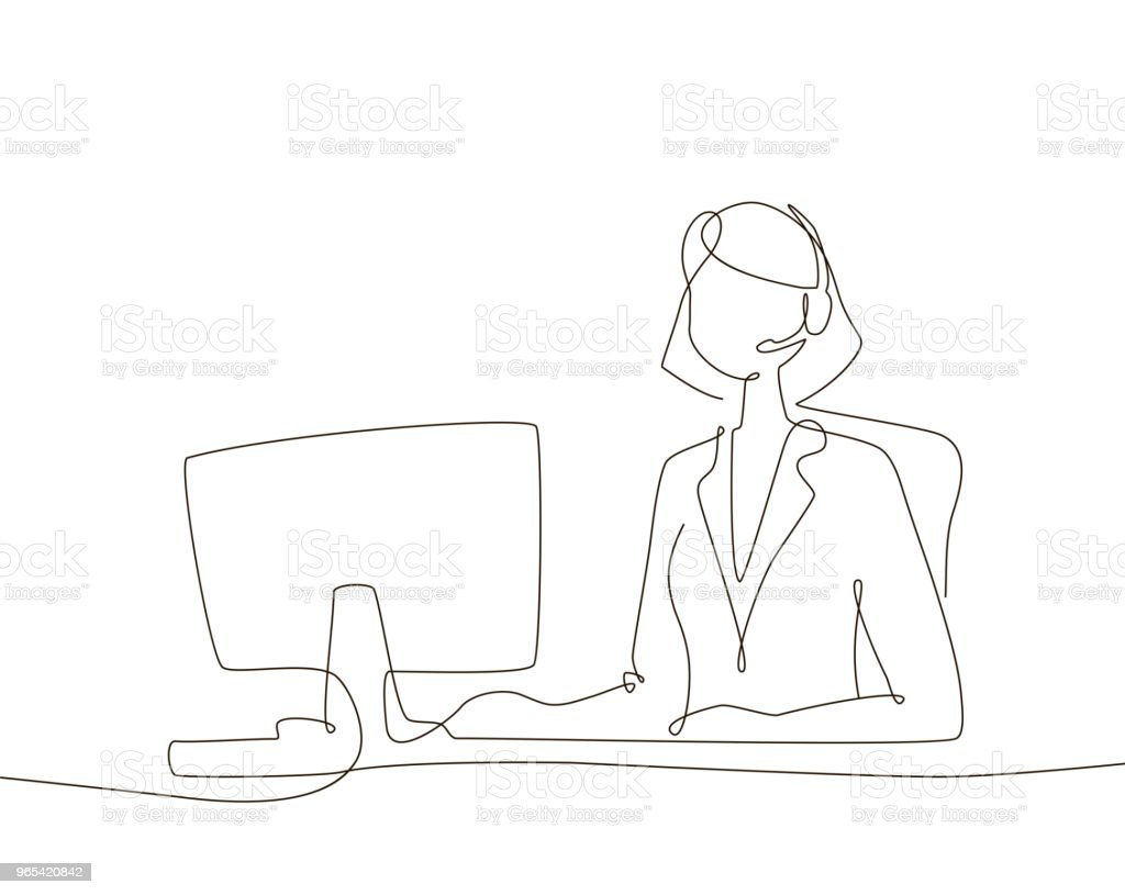 Office worker - one line design style illustration royalty-free office worker one line design style illustration stock vector art & more images of adult