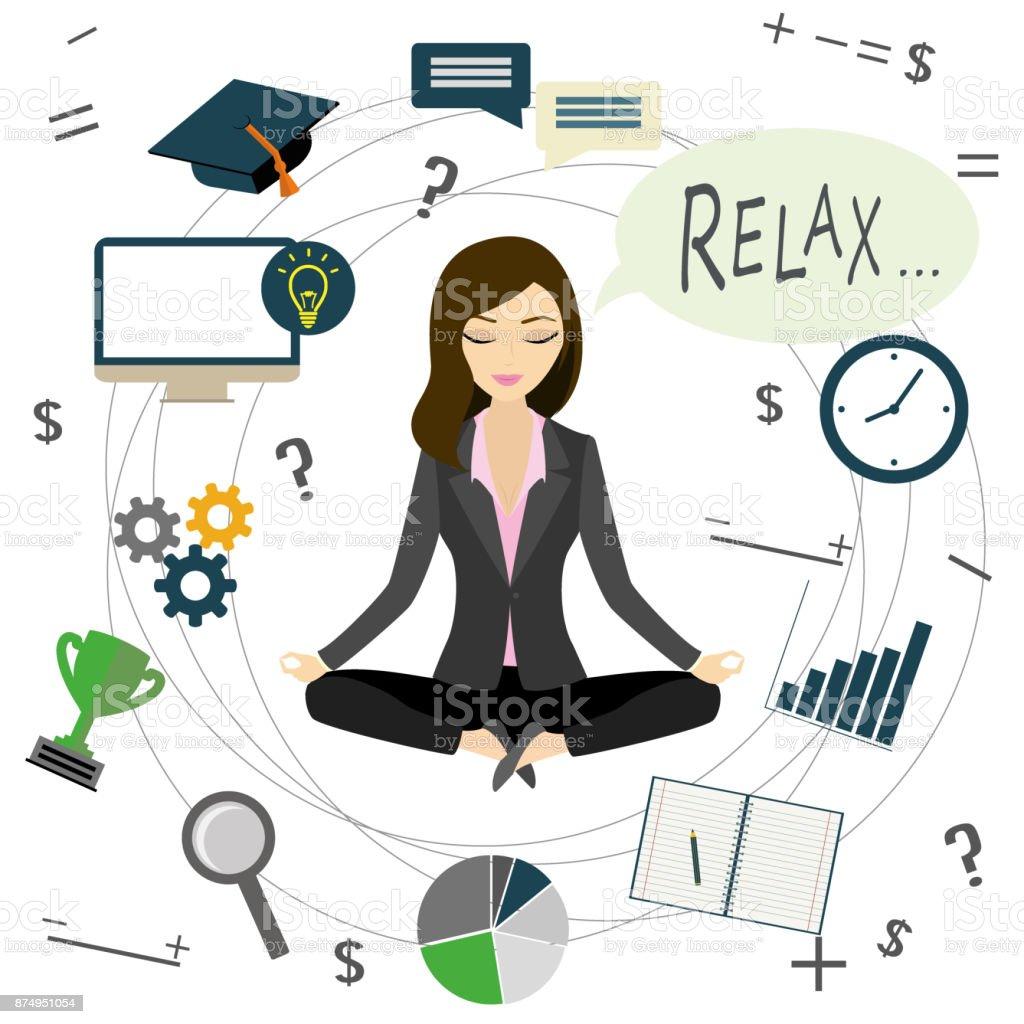 Escritório de trabalho ou negócio mulher relaxa depois do trabalho,  ilustração de escritório de trabalho bba754d672