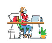 Office Worker or Freelancer Girl Character in Protective Medical Mask Working on Laptop Sitting at Table Workplace Talking by Mobile Phone, Employee at Coronavirus Pandemic. Linear Vector Illustration