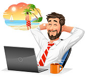 Vector illustration of a young businessman with a beard sitting in front of his laptop leaning back in his chair, dreaming of getting away from it all on a tropical vacation, isolated on white. Concept for work and vacations, online travel booking, travel agencies, daily routine, escapism, dreaming, day dreaming and exhaustion.