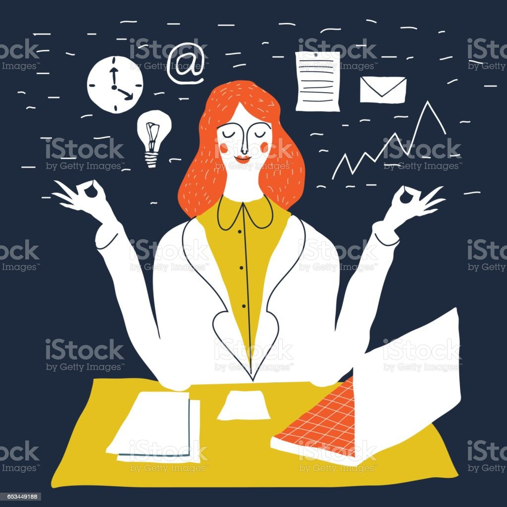 office worker relaxing vector art illustration