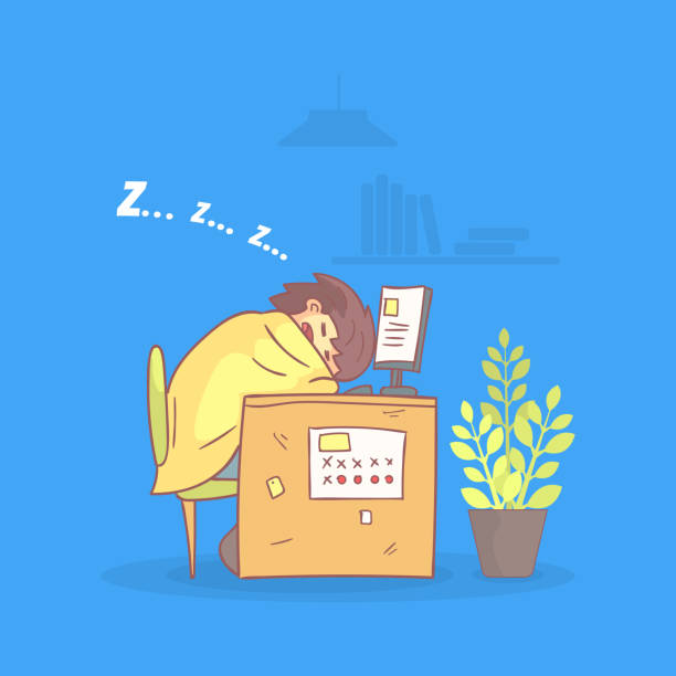 illustrazioni stock, clip art, cartoni animati e icone di tendenza di office worker sleeping at his workplace during working hours, procrastinating and laziness person vector illustration - divano procrastinazione