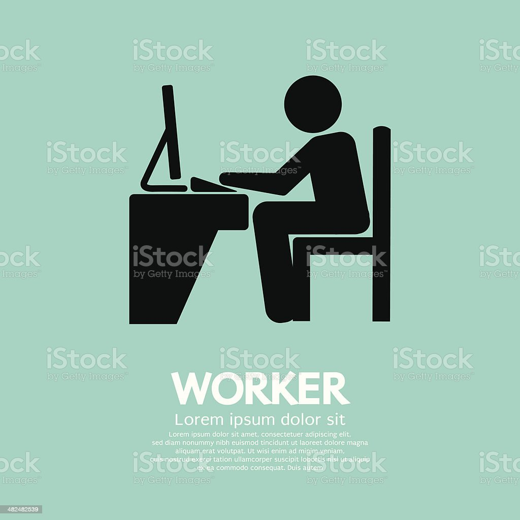 Office Worker Using Computer vector art illustration