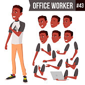 Office Worker Vector. Face Emotions, Various Gestures. Animation Creation Set. Business Person. Career. Modern Employee, Workman, Laborer Cartoon Character Illustration