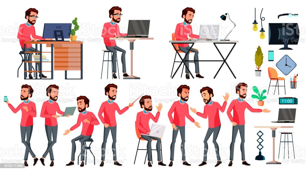 Office Worker Vector. Face Emotions, Various Gestures. Corporate Businessman Male. Successful Officer, Clerk, Servant. Isolated Cartoon Illustration