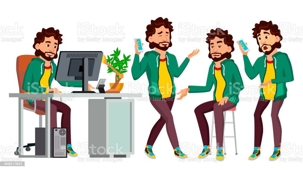 Office Worker Vector. In Action. Face Emotions, Various Gestures. Business Man. Professional Cabinet Workman, Officer, Clerk. Isolated Cartoon Character Illustration vector art illustration