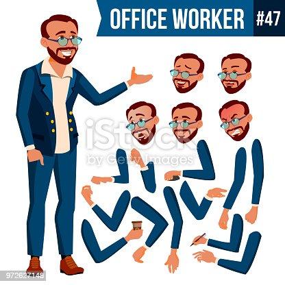 Office Worker Vector. Face Emotions, Various Gestures. Animation Creation Set. Businessman Worker. Happy Job. Partner, Clerk, Servant, Employee Isolated Flat Cartoon Illustration