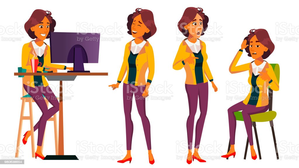 Office Worker Vector Woman Smiling Servant Officer Poses Business