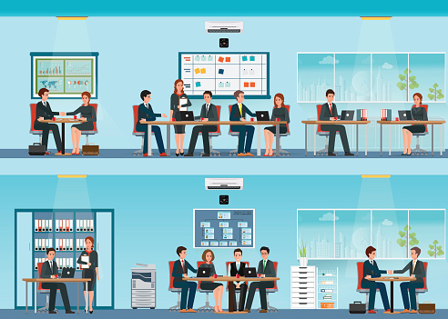 Office worker with office desk and Business meeting or teamwork