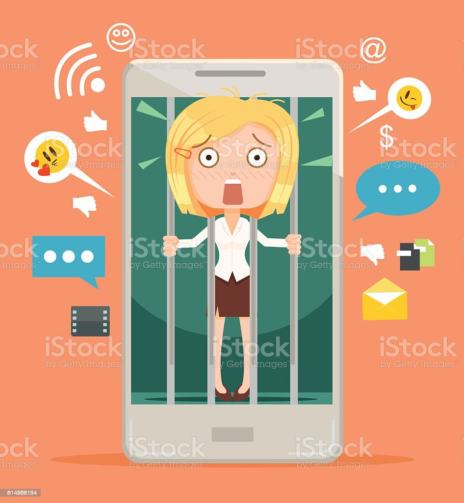 Office worker woman character hostage of modern technologies vector art illustration