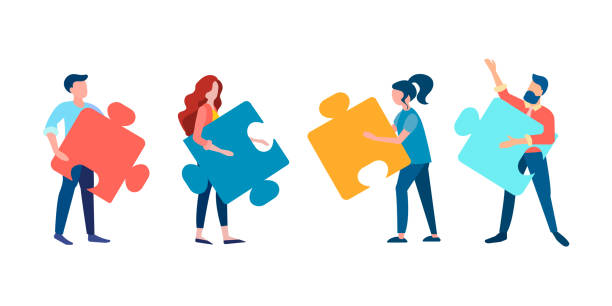 Office workers are made up of parts of the whole, working on the project. Vector illustration of teamwork concept. Office workers are made up of parts of the whole, working on the project. collaboration stock illustrations