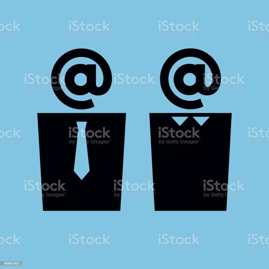 employés de bureau à tête de signe - Illustration vectorielle