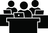 Black vector sign of business people working on laptop