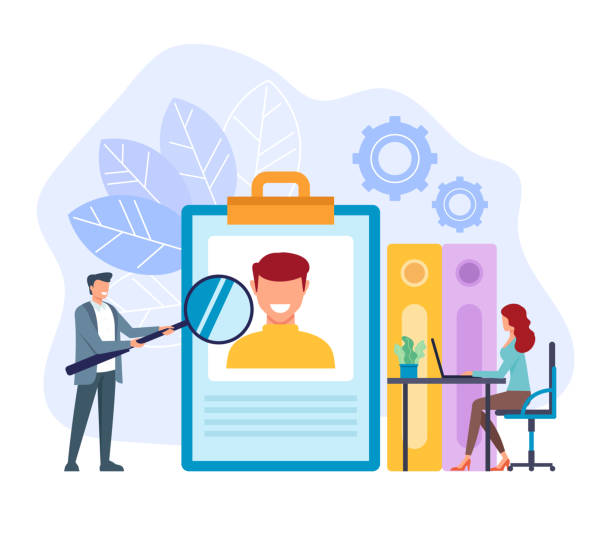 Office workers businessman searching new worker. Head hunter hh recruitment concept. Vector flat cartoon graphic design isolated illustration Office workers businessman searching new worker. Head hunter hh recruitment concept. Vector flat cartoon graphic design isolated recruiter stock illustrations