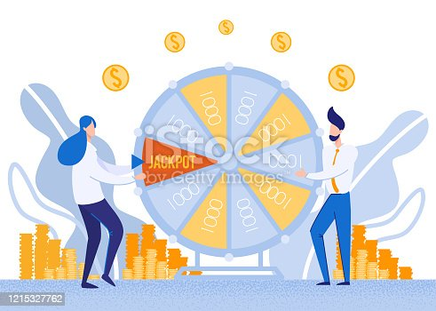 White Collar Workers, Office Plankton, Trying Their Luck by Spinning Wheel. Woman, Catching Jackpot Mark with Force. Man, Holding on One Thousand Field, Doing His Best to Pull Winnings Over.