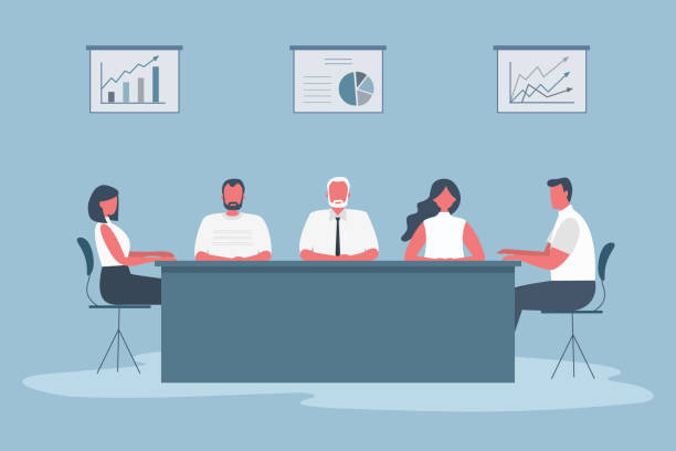 office workers during the meeting. employees are sitting at the table in the office - old man sitting backgrounds stock illustrations, clip art, cartoons, & icons