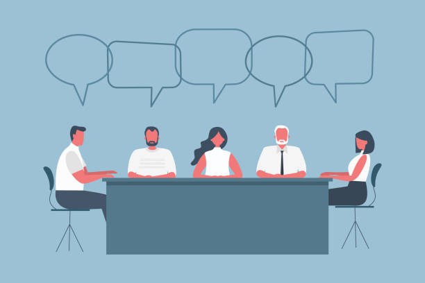 Office workers during the meeting. Employees are sitting at the table in the office. People icons with speech bubbles vector art illustration