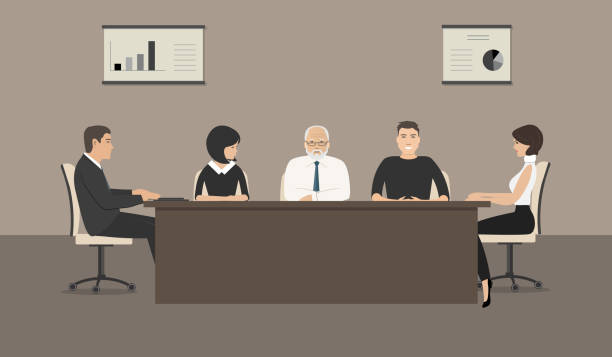 office workers during the meeting - old man sitting backgrounds stock illustrations, clip art, cartoons, & icons