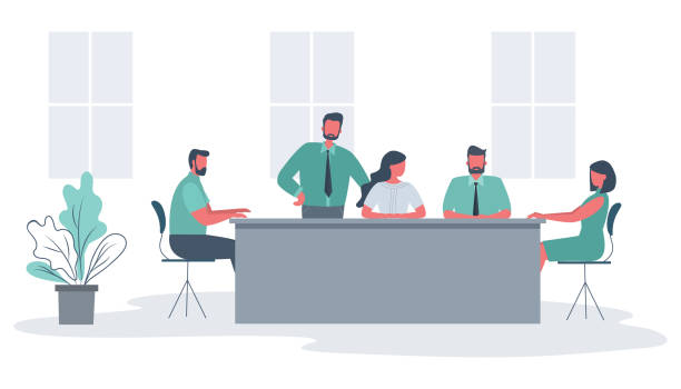 Office workers during the meeting vector art illustration