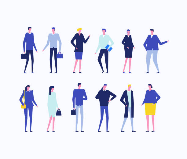 Office workers - flat design style set of isolated characters vector art illustration