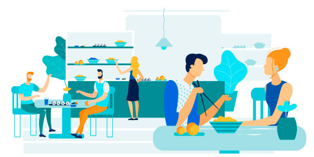 Office Workers Lunch Together Vector Illustration. Office Workers Lunch Together Vector Illustration. Men and Women Eat During Lunch Break. People Eat Asian and Vegan Food. Self Service in Fast Food. Girl Chooses Dishes in Cafe for Healthy Diet. female sandwich stock illustrations