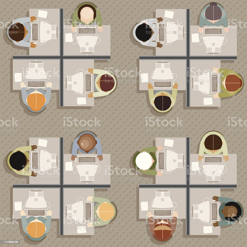 Office Workers: Overhead View vector art illustration