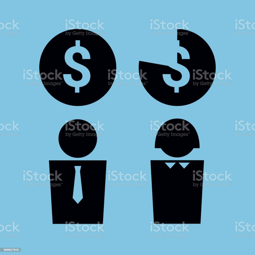 office workers pay gap vector art illustration