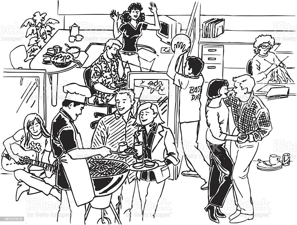 Los trabajadores de oficina jugando - ilustración de arte vectorial