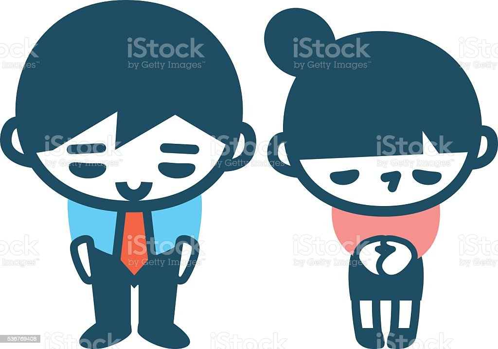 office workers, polite bow vector art illustration